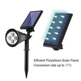 2019 proyectores de tierra Lámpara de tierra 4 LED Solar Powered Spotlight Lámpara de luz a prueba de agua Decoración de jardín al aire libre Paisaje de seguridad Iluminación proyectores de tierra baratos
