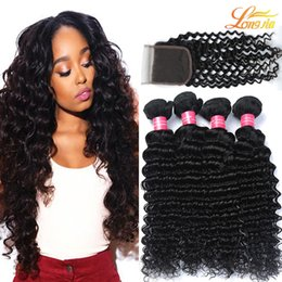 Wholesale Deep Wave Closure Bundles - Brazilian Deep Wave With Closure Hair Bundles with 4x4Lace Closure Brazilian Virgin Human Hair With Closure Unprocessed Human Hair Extension