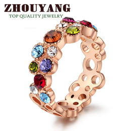 Wholesale Rose Gold Flower Ring - Top Quality ZYR028 Sweet Summer Flower 18K Rose Gold Plated Ring Genuine Crystals From Austria Full Sizes Wholesale