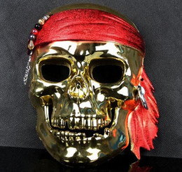 Wholesale Pirate Masquerade Masks - Gold silver plated pirate mask Halloween horror masks Masquerade Mask JIA487