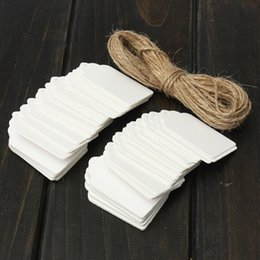 Wholesale Blank Gift Cards - 100pcs Kraft Paper Gift Tags Card White Scallop Festival Wedding Decoration Blank Mini Lage Label with Strings