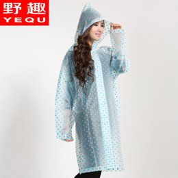 Wholesale Translucent Raincoat Fabric - Wholesale-hot sale Polka dot fashion translucent long raincoat bicycle electric bicycle eva disposable raincoat