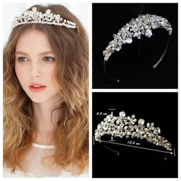 Wholesale Tiaras For Head - Luxurious Crystal Beaded Silver Tiaras Headbands Rhinestone Accessories Pearls Head Wear Jewelry 2015 Hair Decoration For Ladies Wedding