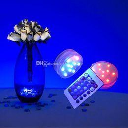 Argentina Impermeable a control remoto sumergible llevó la luz con pilas RGB multi-colores luz para los floreros de mesa decoración de la boda supplier remote controlled led batteries Suministro