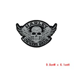 Wholesale Linen Clothes Wholesale - Skull patch Embroidery Iron on Patches for Jacket Back Vest Motorcycle Club Biker Appliques badge wholesales