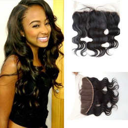 Wholesale Hair Colour 12 - Brazilian virgin human hair body wave wavy three part frontal 13x4 with baby hair full lace frontal closure 1B colour for black women G-EASY