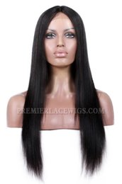 Wholesale Yaki Remy Human Hair Wigs - Premierlacewigs soft Indian Remy virgin light yaki Straight Middel Part #1 #2 #1b natural black brown Human Hair Lace Wigs For Black Women