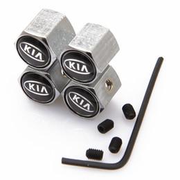 Wholesale Kia Car Emblem - Lockable KIA Anti-Theft Dust Cap Tire valve caps With Car Logo Badges Emblems KIA With Retail Box SZYX-0021