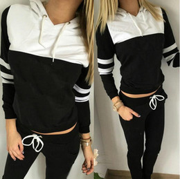 Wholesale Trousers Suits For Women - 2017 women group sport suit women hoodie sweatshirt hooded + leisure trousers suitable for sports fitness yoga movement jogging