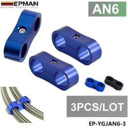 Wholesale Braided Hoses - EPMAN 3pcs AN6 13MM Black Braided Hose Separator Clamp Fitting Adapter Bracket Blue in stock EP-YGJAN6-3