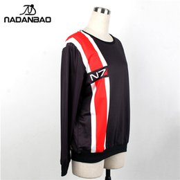 Wholesale mass effect hoodie - NADAO Autumn New Fashion Full Sleeve O Neck 3D Korean Digital Mass Effect N7 Printing Women Pullover Hoodies Clothing