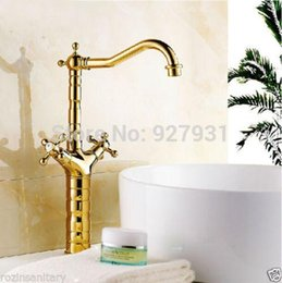 Wholesale Luxury Ceramic Countertop Basins - Luxury Golden Color Dual handles Countertop Basin Sink Faucet Deck Mounted One Hole Bathroom Basin Mixer Faucet 1001#01