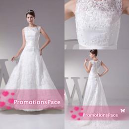 Wholesale Sexy Aline Wedding Dresses - Fashion Aline Bateau Lace Vintage 2015 Plus Size Wedding Dresses Floor Length Real Samples Plus Size Custom Made Cheap Formal Party WDH1-292