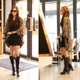 Wholesale wholesale chiffon cardigan - Wholesale-Free Shipping Batwing Dolman Sleeves Loose Long Leopard Chiffon Coat Cardigan Outerwear #BSEL