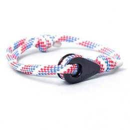 Wholesale Sailing Charms - Customized 4 colors Titanium steel leather PU rope anchor bracelet sail bracelet with charms for men gift