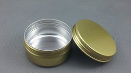 Wholesale Candle Hurricane Lamps Wholesale - Free Shipping Golden Aluminum Container 80g Candle Holder Aluminum Jar 80ml Cream Cans Round Tin