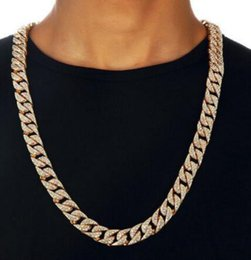 "Wholesale Pt Necklace - Hip Hop Men Quavo Gold PT Iced Out 15mm 20"" Miami Cuban Choker Chain Necklace"