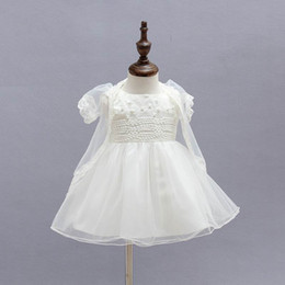Wholesale Girls Beige Dress Coat - Retail Baby Girls Dresses Party Dress Lace Flower Beige Baptism Dress Princess Tutu Dress+coat+Cap 3-12M 9008