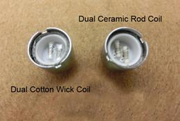 Wholesale Dual Coil Cartomizer Core - D Core Double Coils Wax Vaporizer Wax Rod Cartomizer Dual Wax Ceramic Rob Cotton Wicks Coils vs Skillet Cannon Glass Globe E Cigarette