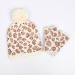 Wholesale Leopard Hat Gloves - Wholesale-Free Shipping Fashion winter Women oge ball leopard print jacquard knitted hat knitted twinset semi-finger gloves