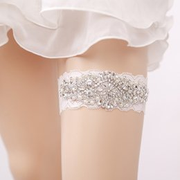 Wholesale Rhinestone Garter Belt - Real Image Sexy Lingerie Rhinestone Lace Bridal Garters Belt Wedding Garter 2018 Fashion Wedding Accessories for Women New