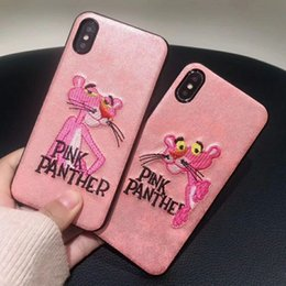 Wholesale Panther Cover - For Iphone X Embroidered Pink Flamingos Pink Panther Phone Case for Iphone 6 6plus 7 7plus 8 8plus Soft Shell Protective Cover