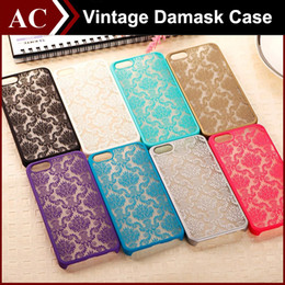 Wholesale Black Silver Damask - Vintage Damask Mandala Datura Henna Wind Chime Flower Matte Hard Plastic PC Translucent Case Cover For iPhone 5 5S 6 Plus 6plus iPhone6