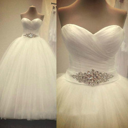 Wholesale Empire Waist Sweetheart Ball Gown - 2015 Romantic Simple White Ball Gown Wedding Dresses Empire Waist Sexy Bridal Gowns Sweetheart Cheap Real Photos Brides Dress Crystal Sash