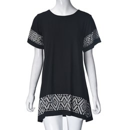 Wholesale Online Dress Pattern - Black ethnic dress Short Sleeves New Pattern Hollow Out casual dresses for woman 2016 boho clothing Online Popular TONSEE