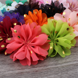 Wholesale Fluffy Headbands - 120pcs  Lot 7 .5cm 24colors Fluffy Ballerina Chiffon Flower Ornaments Fabric Flowers Headwear With Gold Dot For Kids Girls Hair Accessories