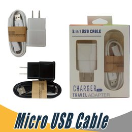 Wholesale Black Charger Adapters - Wall Charger Micro USB Data Cable Travel Adapter US EU 5V 2A Kits 2 In 1 with Retail Package For Samsung LG Mobile Phone