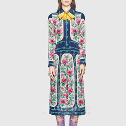 Wholesale Red Printed Chiffon Maxi Dresses - Luxury Dresses Women Designers Floral Print Maxi Dress 2017 Runway Women Fashion High Quality Vintage Dress
