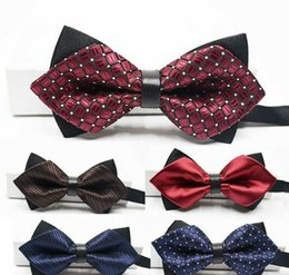 Wholesale Bow Tie Double Black - men or womwen's bow tie business necessity formal wear wedding products leisure time tip double-deck kinds of colors