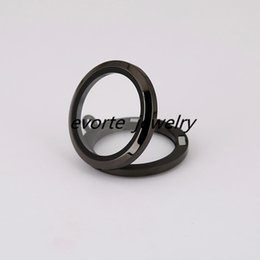 Wholesale Stainless Steel Living Lockets - High Quality Magnetic 20mm 25mm 30mm 35mm Black 316L Stainless Steel Glass Pendant Floating Charms Living Locket