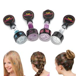 Wholesale Different Stamps - Wholesale-Hot TV Shopping 4 PCS A Set Hot Stamps Hair Glitter Hair Decoration With 4 Different Prints Free Shipping