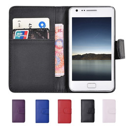Wholesale Galaxy S2 Card - S5Q Flip Wallet Leather Card Stander Case Protectors For Samsung Galaxy S2 I9100 AAADYC