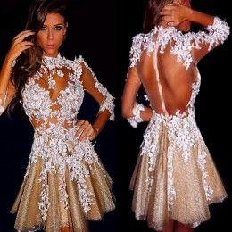 63b0a0393 2015 Vestidos de cóctel de cuello alto con mangas largas Ver a través de  Sheer 3 4 mangas largas de bodas de oro vestidos de fiesta con Appliques de  marfil ...