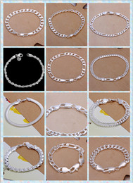 Wholesale Men Curb Silver Bracelet - Promotion! Fashion Bracelet Men Boys 925 Sterling Silver Jewelry Curb Figaro Chains Mix 10 Styles 10pcs lot