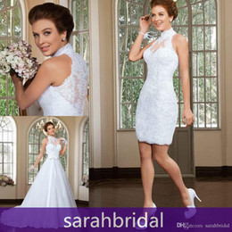 Wholesale Two Piece Sheath Bridal Gowns - 2016 Two Piece Wedding Ceremony Dresses 2 in 1 Stylish Short Sheath Lace Bridal Fancy Gowns with Long Detachable A-Line Train Skirt Vestidos