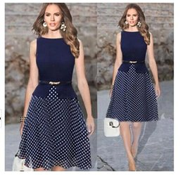 Wholesale Dots Tunic - New Fashion Women Summer Dress 2015 Vintage Celeb Belted Polka Dot Party formal dress Wear To Work Tunic evening party Dresses gown OXL13195