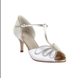 Wholesale Cheap White Wedding Sandals - White T Strap Wedding Shoes For Bridal 2016 8cm Custom Made Plus Size Ladies Party Dresses Hot Sale Womens Sandals Cheap Modest Bridal