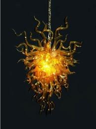 deckenventilatoren modern zeitgenössisch Rabatt Amerikanischer Kronleuchter Hotelbeleuchtung Deckenventilator Licht Zeitgenössische Kunst Glühbirnen Mundgeblasenes Goldenes Glas Pendelleuchten