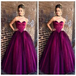 Wholesale Soft Blue Quinceanera Dresses - Cheap Purple Ball Gown Prom Dresses Sweetheart Soft Tulle Floor Length Corset Graduation Party Gowns Simple Quinceanera Dress
