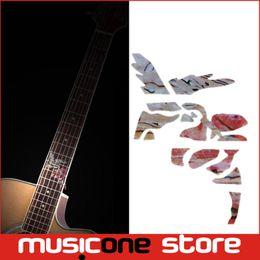 Incrustación de guitarra eléctrica acústica online-Guitarra Fret Inlay Stickers Hummingbird con flores Fretboard Marker Calcomanías para guitarra acústica eléctrica Neck MU1288-36