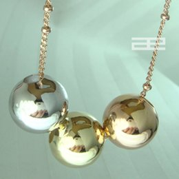 Wholesale 9k Pendant - 9K 9CT Rose, White, Yellow Gold Filled Lucky Beads Necklace N132