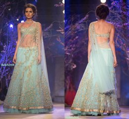 Wholesale Hand Made Shawl - 2017 Sky Blue Indian Dresses Sexy Two Pieces Indian Bridal Gowns Spaghetti Sleeveless Floor Length Evening Dress with Shawl Floral Appliques