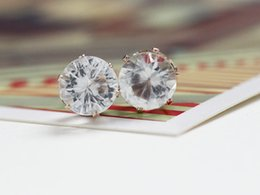 Wholesale Rhinestones 8mm - 8MM crystal Earrings Gold plated Brilliant Cut Diamond Zircon Stud earrings for women Fashion Wedding Jewelry