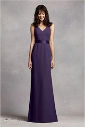 Wholesale V Neck Long Dress Grape - Vintage 2016 Designer Occasion A-Line Long V Neck Crepe Gown with Open Back Floor Length VW360195 Bridesmaid Dresses