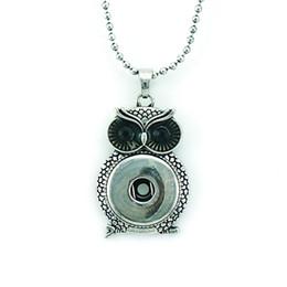 Wholesale Owl Necklace Men - Fashion Pendants Necklaces 18mm Snap Buttons Retro Alloy Owl Infinity Chains Statement Interchange Necklace For Men Jewelry