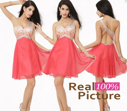 Wholesale One Shoulder Chiffon Mini Dress - Best Selling 2015 Luxury Coral Prom Cocktail Dresses with One-Shoulder A-Line Beaded Pleated Short Party Dresses for Women 2014 IN STOCK